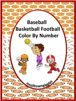 Baseball Basketball Football Color by Number  NO PREP Work