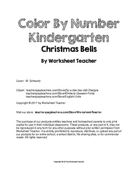 Color By Number Kindergarten Christmas Bells Puzzle