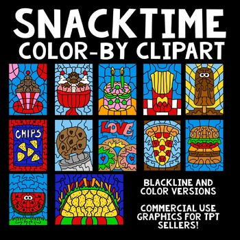 Color By Number Clipart- Graphics- Snack Time Theme