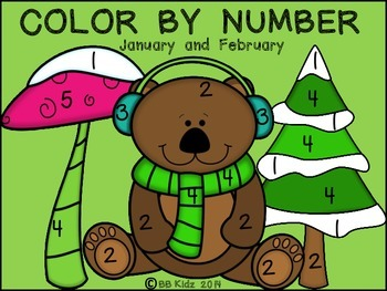 Color By Number Code January / February - {Winter, Valentine, Ground Hog, etc.}