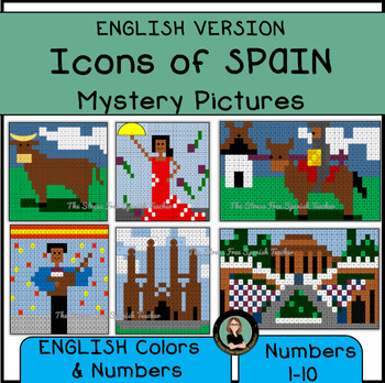 Color By Number / Colors and Numbers, Icons of Spain, ENGLISH VERSION