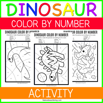 Color By Number Dinosaur Theme Worksheets for Preschool and Kindergarten
