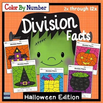 Color By Number Division Facts Halloween Edition
