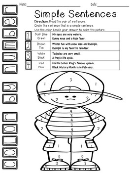 Color By Number ELA Simple Sentences