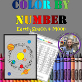Color By Number- Earth, Space, and Moon