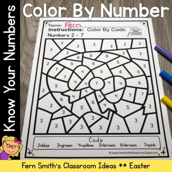 Easter Color By Number Kindergarten Numbers 1 to 9 and Teen Numbers