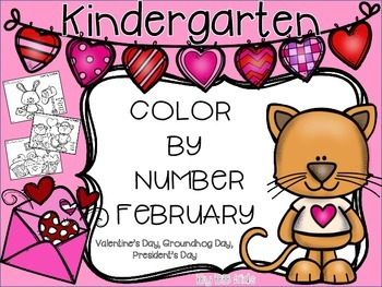 Color By Number February {Valentine's Day, President's / Groundhog's Day}