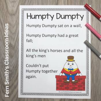 Color By Number For Math Remediation Numbers 1 to 5 Humpty Dumpty Themed