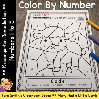 Color By Number For Math Remediation Numbers 1 to 5 Mary Had A Little Lamb