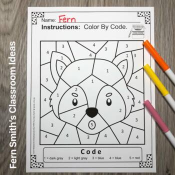 Color By Number For Math Remediation Numbers 1 to 5 with The Three Little Pigs