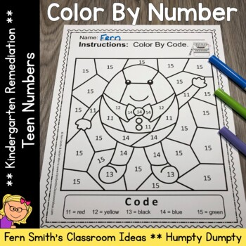 Color By Number For Math Remediation Teen Numbers 11 to 20 Humpty Dumpty Themed