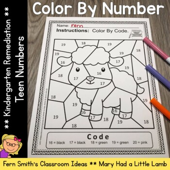 Color By Number For Math Remediation Numbers 11 to 20 Mary Had A Little Lamb