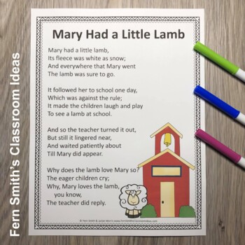 Color By Number For Math Remediation Numbers 6 to 10 Mary Had A Little Lamb