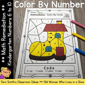 Color By Number For Math Remediation Numbers 6 to 10 Old Woman in a Shoe