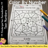 Color By Number For Math Remediation Teen Numbers 11 to 15 Old Woman in a Shoe