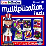 4th of July Math Multiplication Facts Color By Number Inde