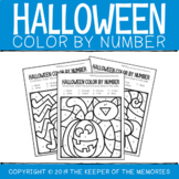 Color By Number Halloween Worksheets