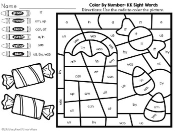 Color By Number: Halloween: Kindergarten Sight Words (English): Candy Bag
