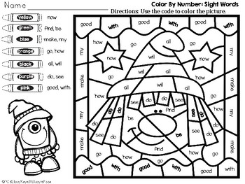 Color By Number: Halloween: Kindergarten Sight Words (English): Candy Corn