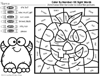 Color By Number: Halloween: Kindergarten Sight Words (English): Jack O' Lantern