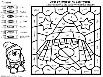 Color By Number: Halloween: Kindergarten Sight Words (English): Witch's Hat