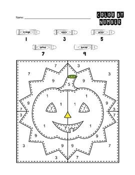 Color By Number Kindergarten Halloween Pumpkin Puzzle