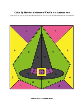 Color By Number Kindergarten Halloween Witch's Hat Puzzle