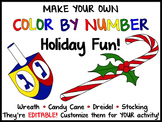 FREE Christmas & Hanukkah Editable Color by Number Pictures