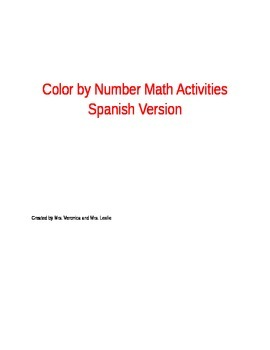 Color By Number Math Activities Spanish Version