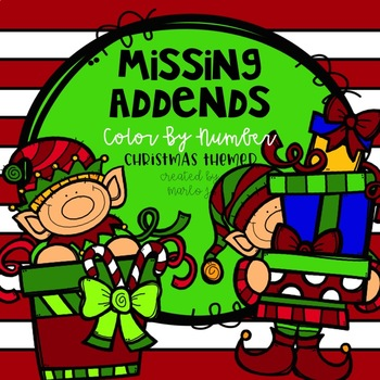 Color-By-Number Missing Addends Christmas Themed
