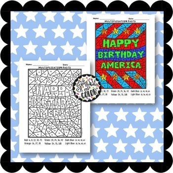 Color By Numbers - Multiplication Facts - 4th of July