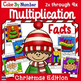 Color By Number Multiplication: Christmas Edition