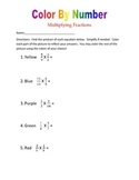 FREE Color By Number:  Multiplying Fractions