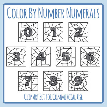 Color By Number Numerals Clip Art Set Commercial Use Templates