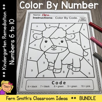 Color By Number Nursery Rhymes For Numbers 6 to 10 Color By Code Bundle