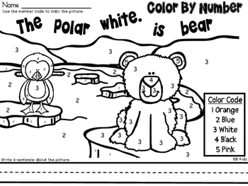 Color By Number Polar Animals / Winter Theme {Color and unscramble the sentence}