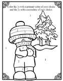 Color By  Number- Primary vs Secondary Winter Coloring Sheet