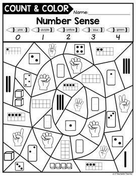 color by number sense activities by a teachable teacher tpt. Black Bedroom Furniture Sets. Home Design Ideas