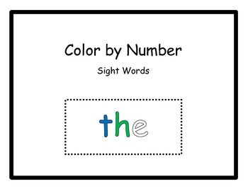 Color By Number - Sight Words