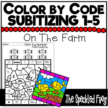 color by number subitizing numbers 0 5 farm theme