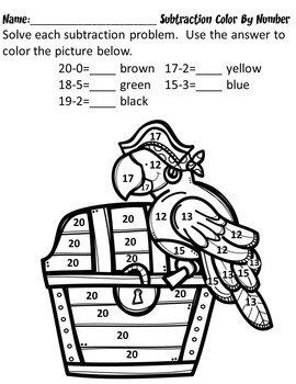 Subtraction No Prep Color By Number