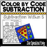 Color By Number:  Subtraction within 5:  Mixed Themes