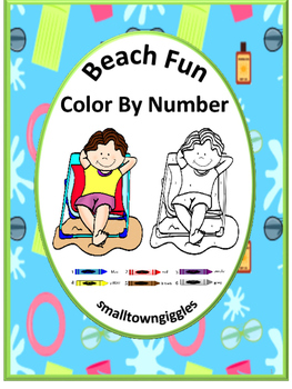 Color by Number Math,Color by Number Beach,Special Education, Preschool Math