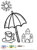 Summer Beach Fun Color by Number Coloring Pages