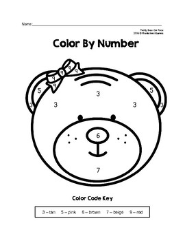 Color By Number Teddy Bear Boy & Girl Faces Puzzles