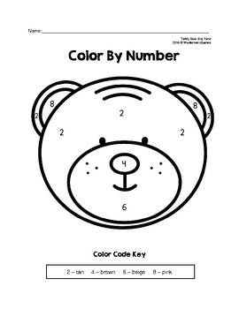 Color By Number Teddy Bear Boy & Girl Faces Preschool Puzzles