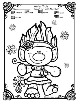 Color By Number- Teen Numbers- Winter Trolls by Creative ...