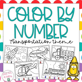 Color By Number Transportation Theme