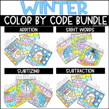 Winter-Themed Color By Code BUNDLE