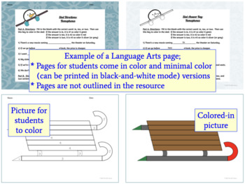 Color By Number Math and Language Arts Activities about Winter Fun {No Prep}